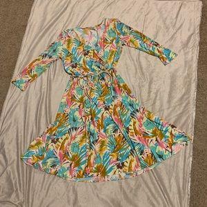 Suzi Chin Floral Print Wrap Dress 3/4 sleeve